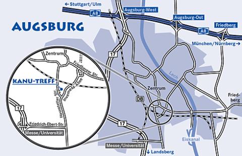 Lageplan Kanu Treff Augsburg